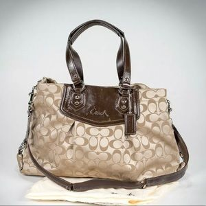 Coach Ashley Purse Khaki and Brown Patent Leather